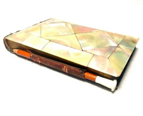 Antique Victorian Mother of Pearl Diary with Pencil / Flip Over Book c1890